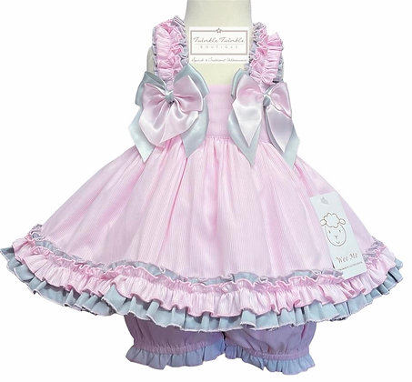 Baby Girls Pink & Grey Frill Dress & Bloomers set