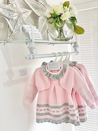 Girls Knit  Dress & Cardigan Set pink with Grey Lace