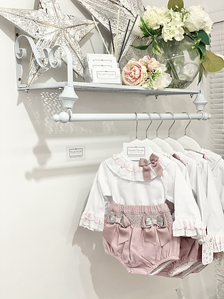 Baby Girls Dusky Pink & Grey Smock jam pant & Shirt Set