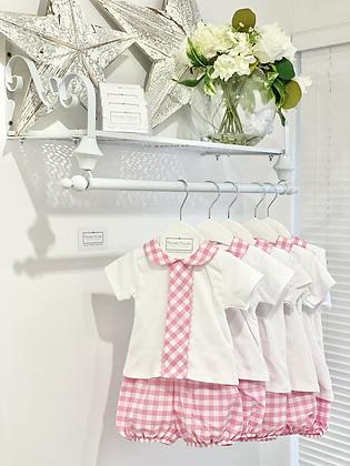 Baby Girl Pink / White Check Bloomer Shorts Set