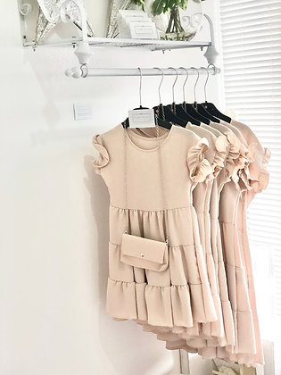 Girls Dress & Matching Bag  4-14yrs - NUDE