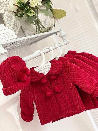 Pom Pom knit Coat & Hat  - RED