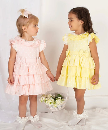 Caramelo - Girls Pink Ra Ra Dress & Matching Hair Clip
