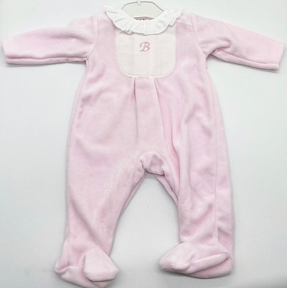 Velour  Pink & White B for baby Babygrow