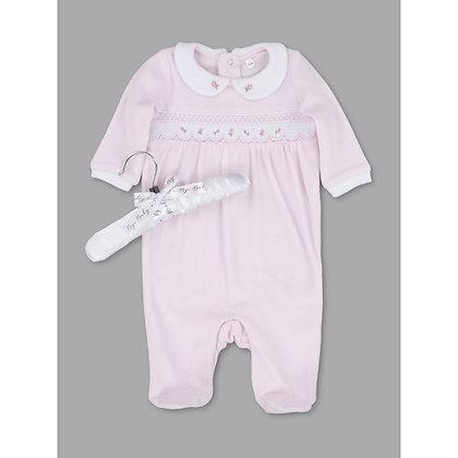 Baby Smock Velour scallop rose  Sleepsuit NB-9M - Unisex