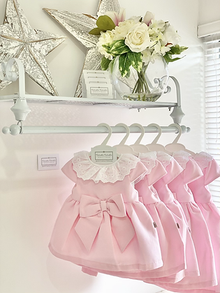 Baby Girls Classy Bow Dress  - Baby Pink