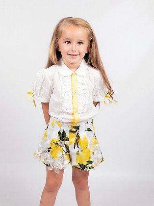 Beau Kid - Girls Lemon Print Shorts set