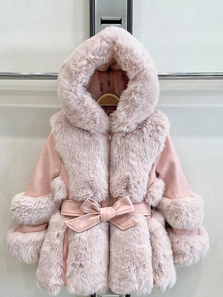 Girls Coat faux Fur - PINK