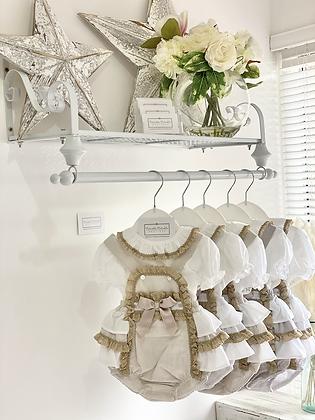Baby Frill Romper & Shirt set - WHITE/ CAMEL