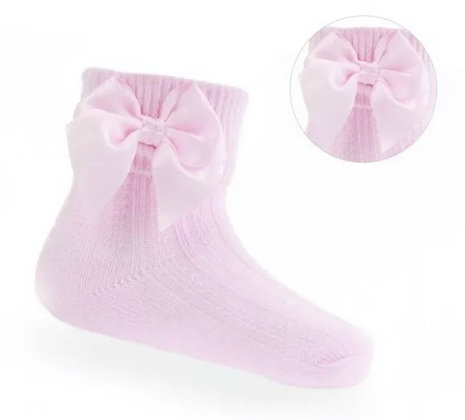 Baby Girls Ankle  Bow Socks - PINK