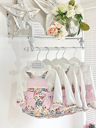 Baby Girl's Floral Romper with lace Frill & Pretty Shirt  set