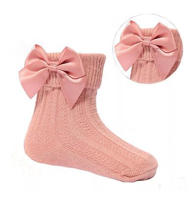 Baby Girls Ankle  Bow Socks - DUSKY PINK