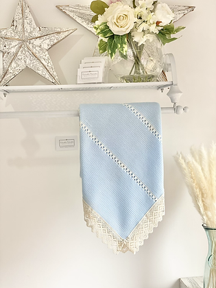 Baby Spanish Lace Trim Shawl/Blanket - BLUE
