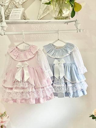 Girls Puffball Dress  - BLUE or PINK