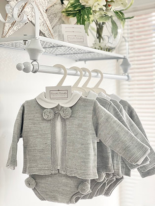Boys Knit Pom Pom Grey and white 3 piece shirt set
