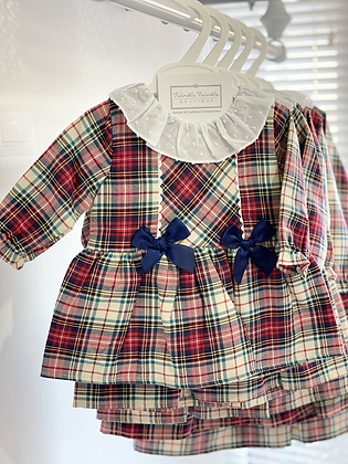 Baby Girls frill collar Tartan Dress with Navy Detail