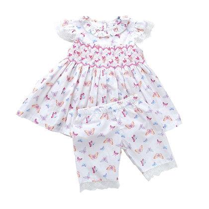 Baby Girls Smocked Butterfly Pyjama Pj's Set 6m-3yrs
