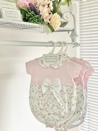 Baby Girls Sping Floral Bow Romper - PINK