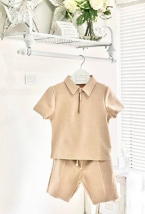 Boys zipped Poloshirt and Piped shorts set 2yrs upto 10yrs - Nude