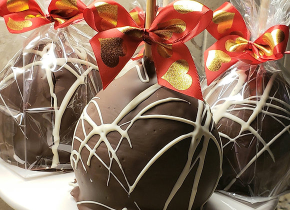 Jumbo Caramel Apples- Chocolate Vanilla Swirl -4pk