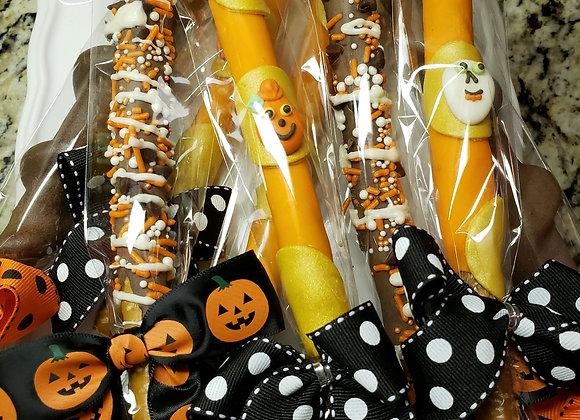 Gourmet Pretzel Rods -Caramel- Happy Halloween Rods - 4 pk