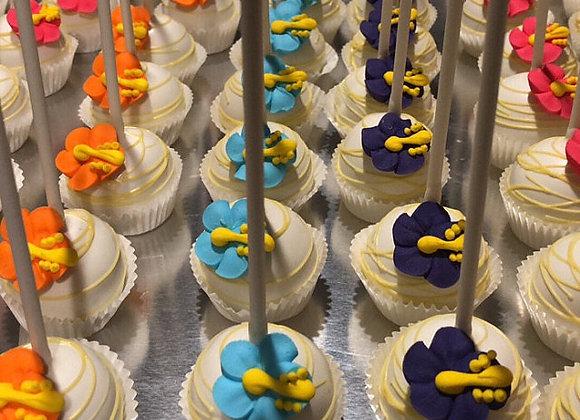 Cake Pop-Tropical Hibiscus- Luau Pops-6pk