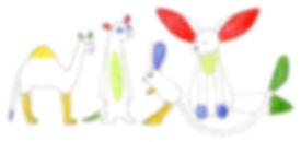 desert animals, drawing, kids illustration, kinderillustratie, woestijndieren, woestijnvos, dromedaris, stokstaartje