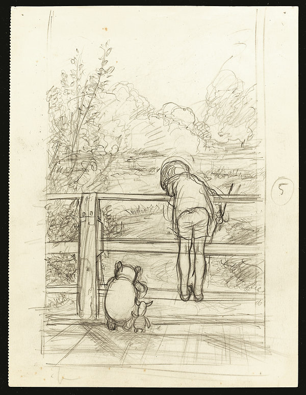 Pencil drawing for the House at Pooh Cor