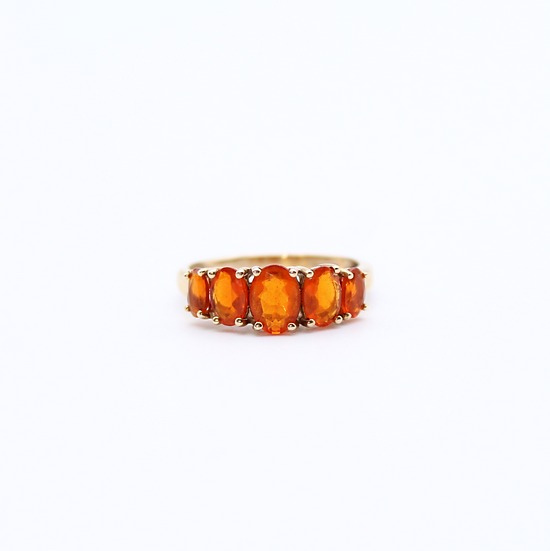 Graduated five stone Mexican fire opal ring
