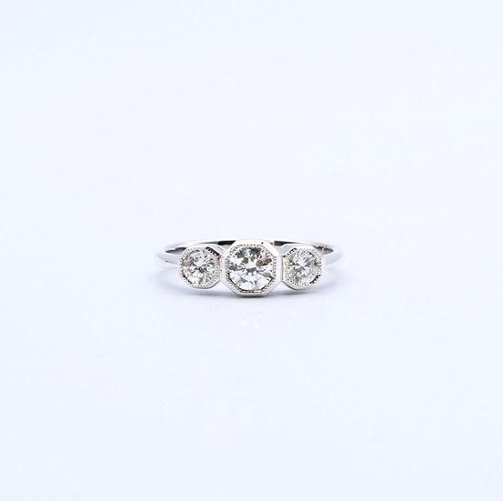 Hexagon diamond three stone ring