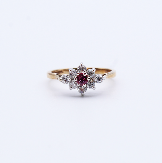 Ruby and Cubic Zirconia cluster ring
