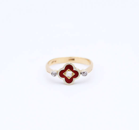 Old cut Diamond and Enamelled vintage style ring