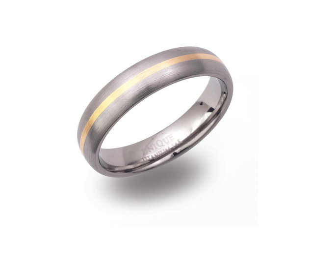 Titanium and Gold band ring