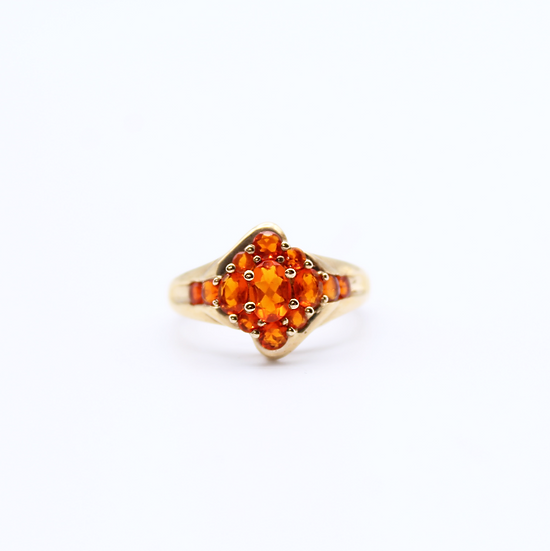 Mexican fire opal oval cluster ring