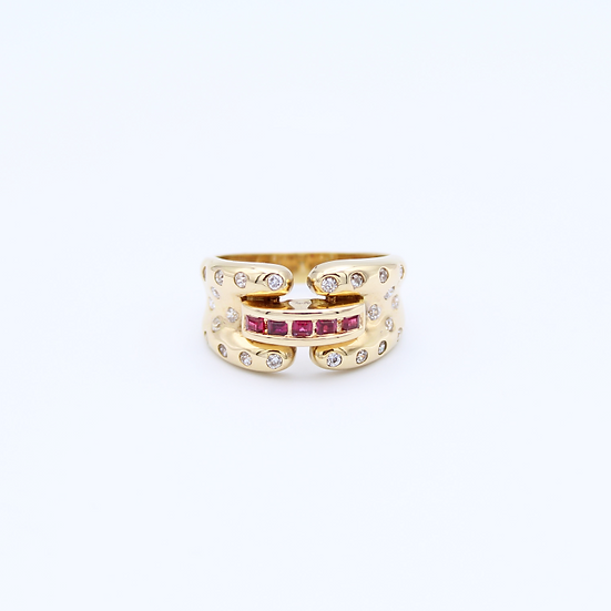 Ruby and Diamond art deco style ring
