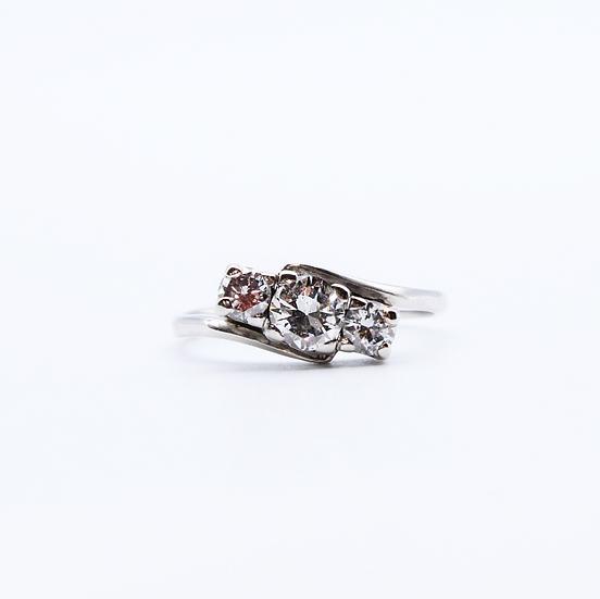 Diamond three stone twist ring