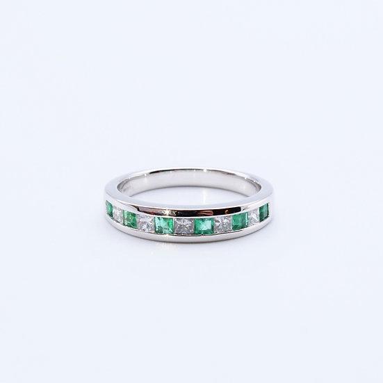Princess cut Emerald and Diamond channel set ring