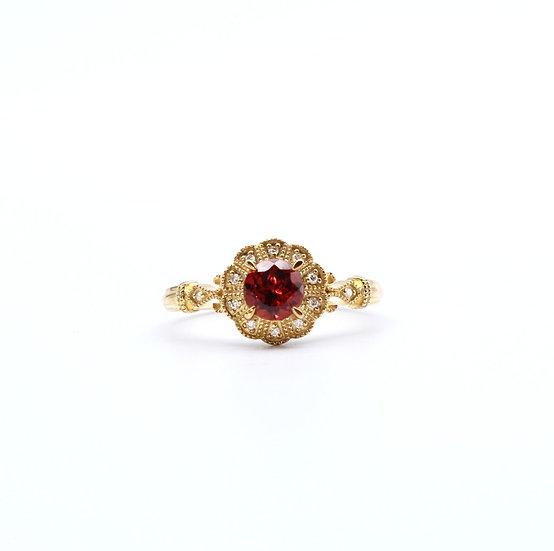 Garnett and diamond dress ring