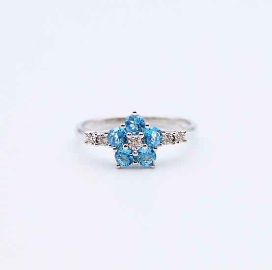 Blue Topaz and Diamond flower shaped ring