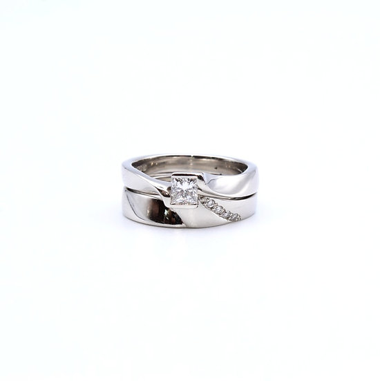 Diamond engagement and wedding ring