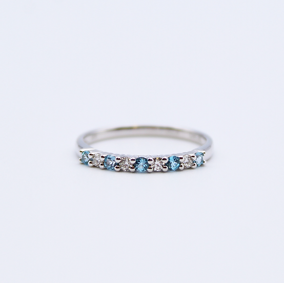 Blue Topaz and Diamond band ring