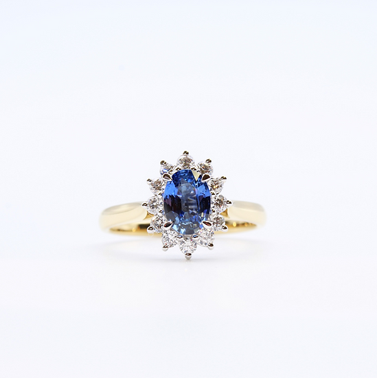 Sapphire and Diamond oval cluster ring
