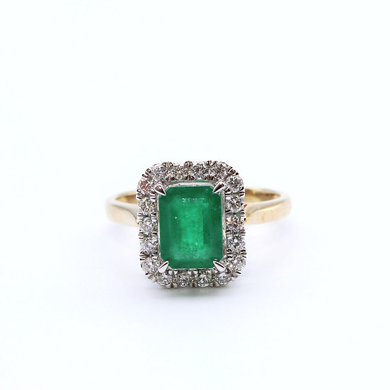 Emerald and Diamond emerald cut ring