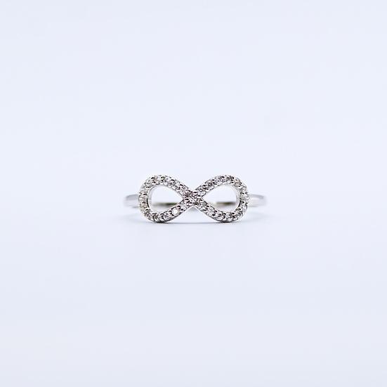Cubic zirconia infinity ring