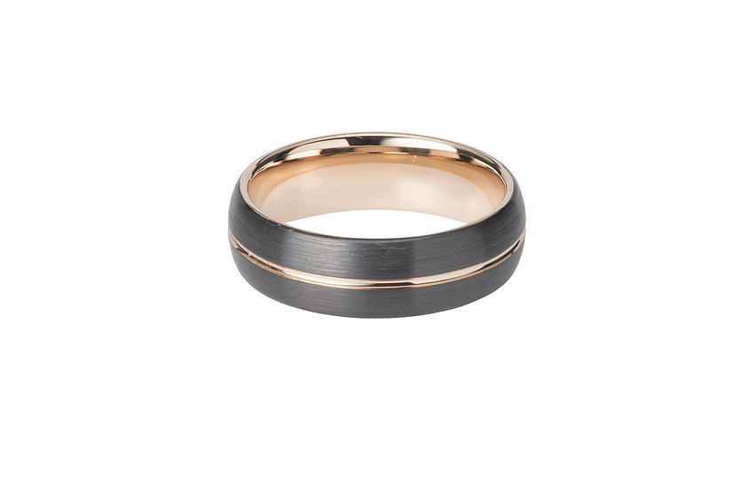 Tungsten and Rose Gold plating band ring
