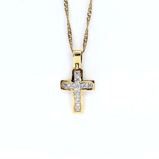 Cubic zirconia gold cross