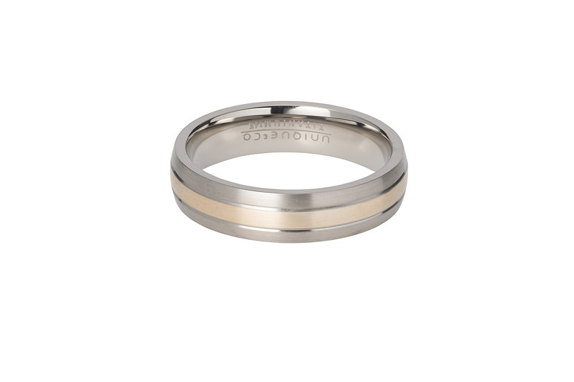 Titanium and Rose gold band ring