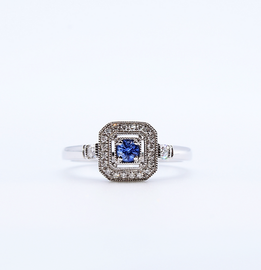 Sapphire and diamond square cluster ring