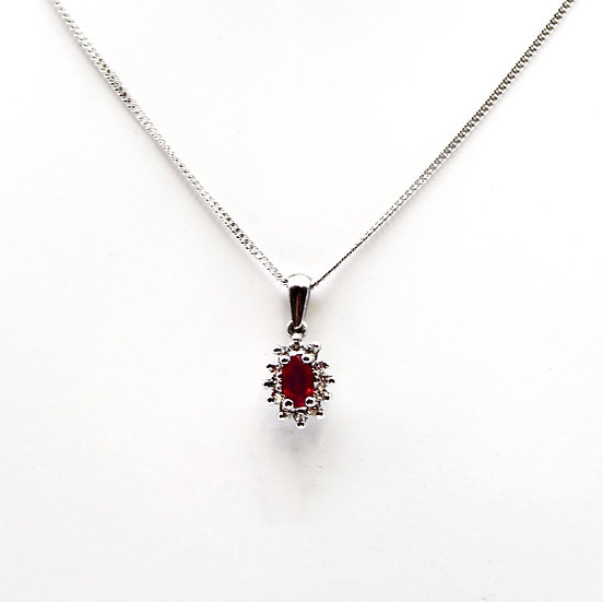 Ruby and Diamond pendant and chain