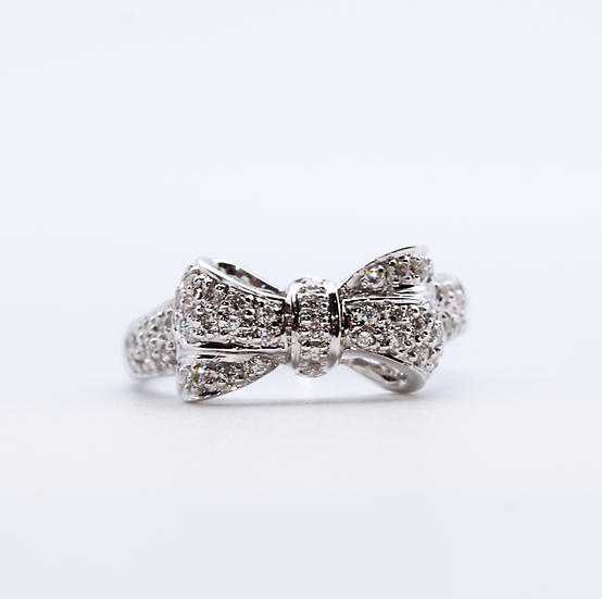 Diamond bow shaped ring